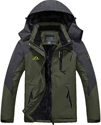 TACVASEN アウトドアジャケット メンズ 多機能 マウンテンパーカー 防風 登山服 裏ボア 保温 登山ジャケット フリース 撥水性 ウインドブレーカー 裏起毛 フード付 取り外し可能