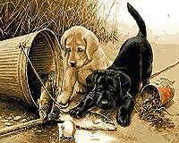 LoveTheFamily 数字油絵 数字キット塗り絵 手塗り DIY絵 デジタル油絵 40 x 50 cm ホーム オフィス装飾 -動物