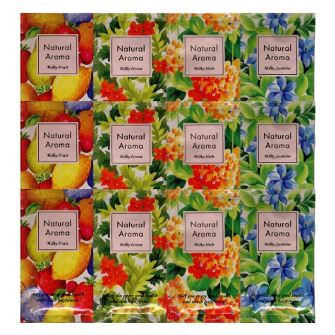 飾り羽規模動かすナチュラルアロマ 入浴剤 ミルキーハーブ 4種類×3 12包セット