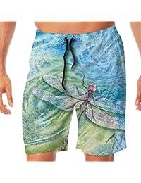 メンズ水着 ビーチショーツ ショートパンツ トンボ プリント スイムショーツ サーフトランクス 速乾 水陸両用 調節可能