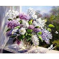 LovetheFamily 数字油絵 数字キット塗り絵 手塗り DIY絵 デジタル油絵 紫の花瓶 40x50cm ホーム オフィス装飾