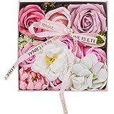 UINI BEST フラワーソープ 石鹸の花 ソープフラワー 枯れないお花 プレゼント 花 母の日 花束… (円形 ピンク)