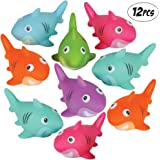 Bedwina Colorful Rubber Sharks (Pack of 12) Neon Squeezable & Squirtable Smiling Sharks, for Kids Pool and Bathtub Play, Summ