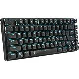 e元素ゲーミングキーボード メカニカル式キーボード USB接続有線青軸81キーアンチゴーストキー 青色LEDバックライト 防水機能付きゲーマー向け英語配列キーボード (ブラック)