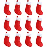 """CCINEE 12pcs Red Cotton Stockings 15"""" Christmas Party Favors Stockings for Party Decoration"""