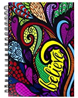Colorit 9 x 6 Believe Hardcover Spiral Journal – 100 Lightly Linedシート、ダブルスパイラルノートブックwith Bold Hand Drawnデザイン、毎日のジャーナル使用
