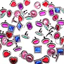 DSSY 72 Pieces Plastic Colourful Rhinestone Gem Rings Adjustable Big Jewel Rings Princess Theme Party Favour