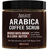 All Natural Arabica Coffee Body Scrub, Infused with Argan Oil and Shea Butter, Great for Acne, Anti Cellulite and Stretch Mar
