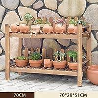 木製植物フラワーディスプレイスタンド木製ポットシェルフ収納ラック屋外屋内多層花鉢ライトブラウン (サイズ さいず : A)