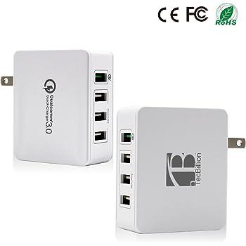 TecBillion [Quick Charge 3.0対応]4ポート USB超急速充電器 ACアダプタ iPhone/iPad/Galaxy/各種スマホなどに対応