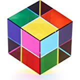 ZhuoChiMall CMY Color Cube 1.6 inch (40 mm) Crystal Glass Cube Prism, RGB Dispersion Prism,Multi-Color CMYcube Toys and Deskt