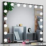 BAIYEA 女優ミラー 化粧鏡 ライト付きミラー 壁掛け/卓上両用, ハリウッドミラー 卓上鏡 三色照明モード 明るさ調節可能 17個LED電球付き 63x52cm