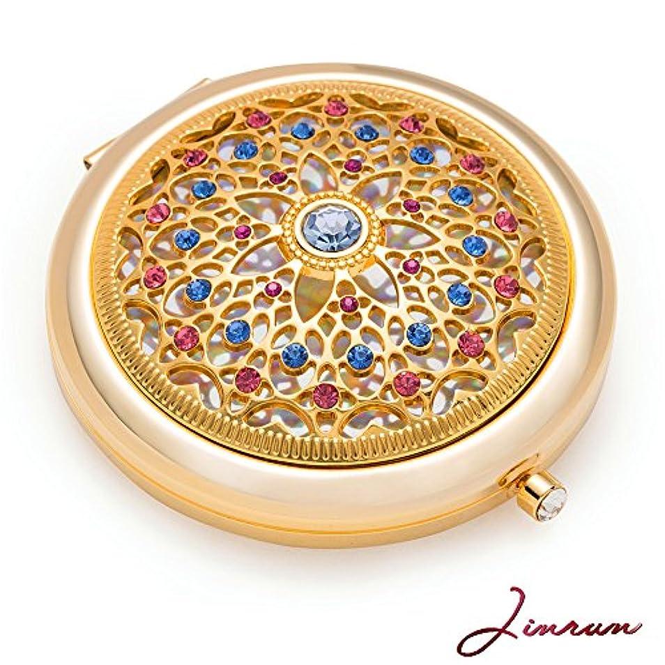 効果にやにやワイン女性用のユニークなギフト/ジンヴァン 24kゴールド電気メッキメイクアップミラー : 究極の贅沢な丸型化粧鏡 ダイアモンド付き/丈夫な持ち運びハンドバック用コンパクト化粧鏡/折りたたみ式拡大ビューティーミラー