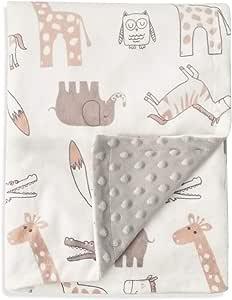BORITAR ソフトミンキードット二重織毛布 ベビーブランケット 75cm x 100cm (ブラウンアニマルズ)