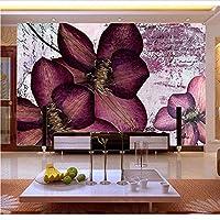 Weaeo 紫の3D花の壁画3D壁の壁紙の壁紙のテレビソファの背景の寝室3D壁の壁画壁紙の装飾-200X140Cm