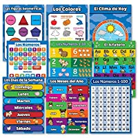 Spanish Toddler Learning Poster Kit - 9 Educational Preschool Charts ABC - Alphabet Numbers 1-10 Shapes Colors Numbers 1-100 Days of the Week Months of the Year Espa?ol Alfabeto - Abecedario 【You&Me】 [並行輸入品]