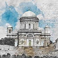 QUDMST カスタム壁紙グレーイラストスケッチトルコの城カスタム大壁画壁紙-120X100cm