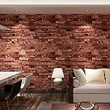 (ハンメロ)HANMEROリビング 部屋 diy リフォーム用 貼ってはがせる レンガ柄 ビニール壁紙 のりなし 53cm×10m レッド L91304