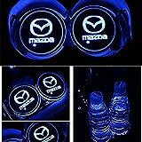 車用 LED ドリンクホルダー レインボーコースター 車載 ロゴ ディスプレイライト LEDカーカップホルダー マットパッド (マツダ Mazda)