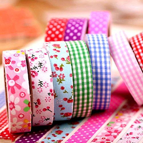 (デイリー スウィート)Daily Sweet   DIY道具 ファブリックテープ 布テープ デコ 装飾 ドット ストライプ 花 ランダムで発送 10巻セット