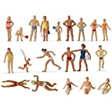 P8718 40pcs Model Trains Swimming Figures 1:87 Scale HO Scale People Scenery Layout Landscape Miniature