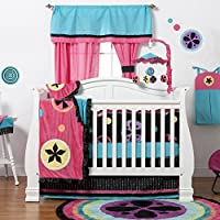 One Grace Place Magical Michayla Infant Crib Bedding Set, Black/Pink/Turquoise by One Grace Place