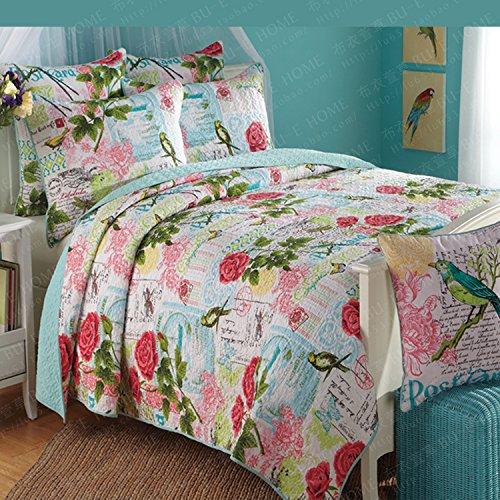君のホームカザリ ベッドカバー 3点セット キルト ベッドスプレッド ケイーン キング用 100%綿 ローズ (P)