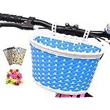 ANZOME Girl's Bike Basket, Front Handlebar Kid's Bicycle Basket with Bike Bells Streamers for Kids Chirlden Gift DIY Sets - R
