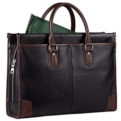 ビジネスバッグ メンズ 本革 大容量 ショルダー 3way pc a4 防水 通勤 就活バッグ (ブラック + バッグインバッグ付) パビン