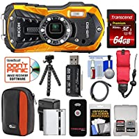 Ricoh wg-50防水/耐衝撃デジタルカメラ(オレンジ) with 64GBカード+バッテリー&充電器+ケース+三脚+フローティングストラップ+キット