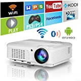 Home Wifi Projector with Bluetooth 4600 Lumens,Wxga HD LED LCD Movie Theater Projectors Wireless HDMI USB VGA AV Audio, 1080P