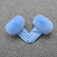 AIJIA Fashion Women's Leather Glove Winter Warm Gloves Fashion Style Natural Fluffy Gloves (Color : Ocean Blue, Gloves Size : Size M)