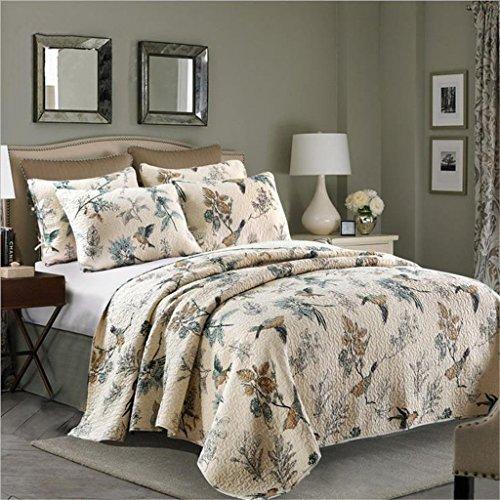 RoomClip商品情報 - gardenlightess ベッドカバー ベッドスプレッド マルチ カバー キルト おしゃれ ダブル 綿100% 3点セット 鳥柄
