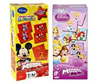 mozlly値パック–ディズニーミッキーマウスClubhouse Memory Match Game andディズニープリンセスMemory Match Game–2to 4players-memory skills-childrens早期開発のおもちゃ( 2Items )