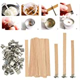 Wood Candle Wicks 50Pcs Natural Environmentally-Friendly Wick 6mm 8mm 12.5mm 13mm Wooden Candles Wick With Sustainer Tab Stan
