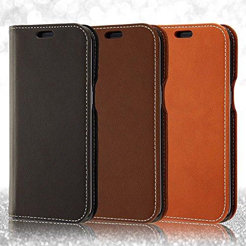 レイ・アウト Galaxy S7 edge 手帳型ケース 本革 ダークブラウン RT-GS7ERLC1/DK