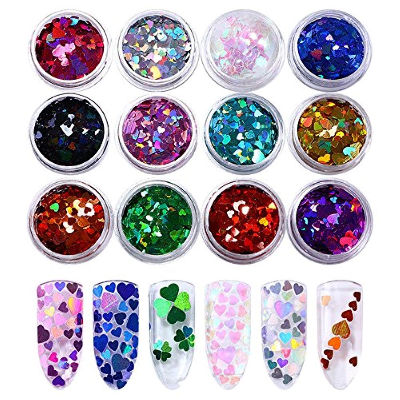 暴徒気まぐれな服を着るFidgetGear 12ボックスホログラフィックネイルスパンコールマルチサイズ虹色ハートパレットマニキュア