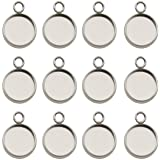 50pcs Fit 12mm Stainless Steel Round Blank Bezel Pendant Trays Base Cabochon Settings Trays Pendant Blanks for Jewelry Making