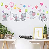 Kids Animals Wall Stickers Peel & Stick Elephant Mural Decals for Nursery Wall Decoration Baby Bedroom Playroom Decor (Elepha
