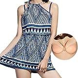 【SEBLES】 レディース ワンピース 水着 ビーチ スカート 体型 カバー パッド付き ブルー [インナーパッド付き(Aカップ)] M