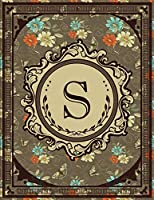 Vintage Monogram: Floral Initial S Letter Old Book Monogram Dotted Bullet Notebook Journal Dot Grid Planner Organizer 8.5x11 Vintage Retro Classy Style for Woman and Girl