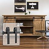WINSOON 6FT Super Mini Sliding Barn Door Cabinet Hardware Kit for Double Doors TV Stands Small Wardrobe Cabinets, J Shape Han