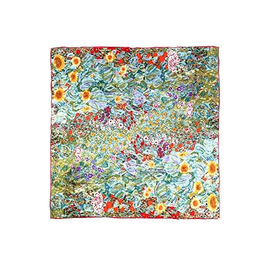 (Eikuena) Aqueena Gustav Klimt fin 100% Square Redeisu silk scarf combined with St. van Gogh Monet oil painting