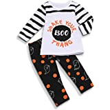 SEVEN YOUNG Toddler Kid Baby Boys Girls Halloween Outfits Long Sleeve Striped Boo Print Top Blouse Ghost Pants Clothes Set