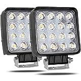 CooAgo LEDワークライト オフロード 防水作業灯 CREE製 48W 16連10-30VDC対応 12V/24V兼用 白 (2個セット、1年保証)