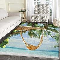 ビーチラグKidカーペットTorn用紙効果トロピカルビーチwith Ocean Palm and Umbrellas Coconut Trees印刷ホーム装飾Foor Carpe 2' x3'マルチカラー 4'x5'(W 120cm x L 150cm)