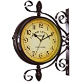 WOOCH Wrought Iron Antique-Look Brown Round Wall Hanging Double Sided Two Faces Retro Station Clock Round Chandelier Wall Han