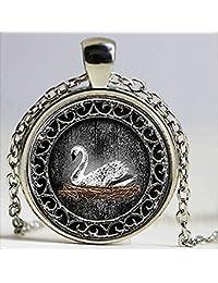 ホワイトスワンエマ白鳥の時間の一度は、クリスタルネックレスジュエリーにインスパイアされたカボション