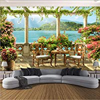Lcymt カスタム写真の壁紙3Dステレオバルコニー湖の風景自然壁画リビングルームレストランの背景壁の装飾3D-400X280Cm