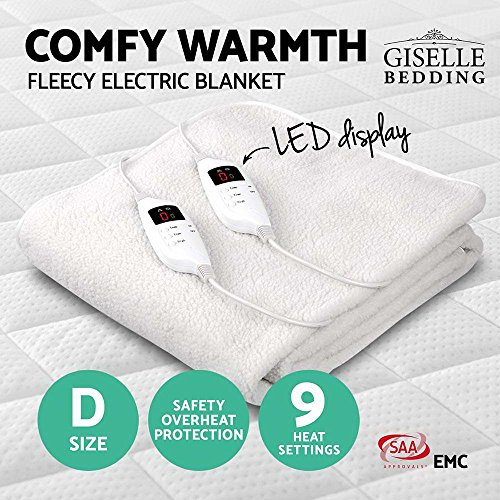 Fleecy Electric Blanket Heated Fully Fitted Washable Fleece Underlay Double Bed